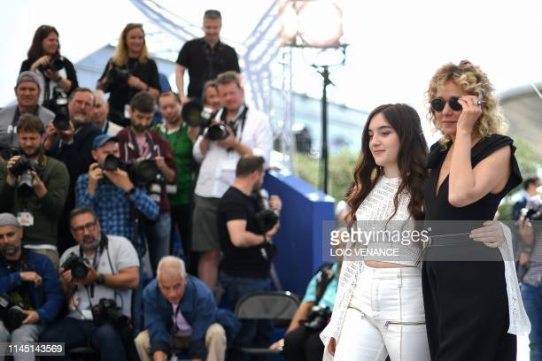French actress Luana Bajrami and Italian actress Valeria Golino pose during a photocall for the film Portrait Of A Lady On Fire at the 72nd edition...