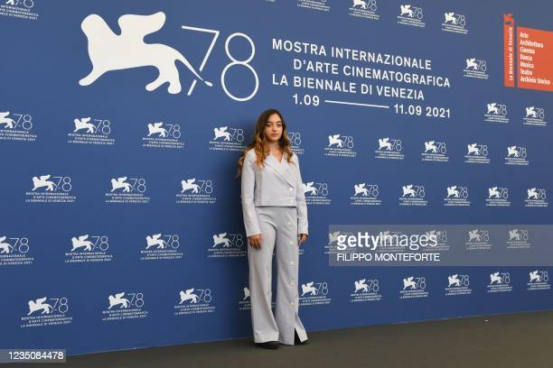 """French actress Luana Bajrami attends a photocall for the film """"l'Evenement"""" presented in competition on September 6, 2021 during the 78th Venice Film..."""