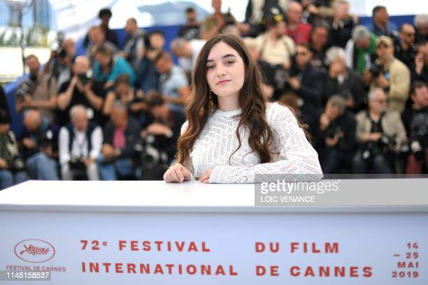 French actress Luana Bajrami poses during a photocall for the film Portrait Of A Lady On Fire at the 72nd edition of the Cannes Film Festival in...
