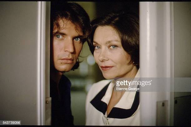 French actress Macha Meril and English actor Christopher Thompson on the set of the film Délit mineur directed by French director Francis Girod