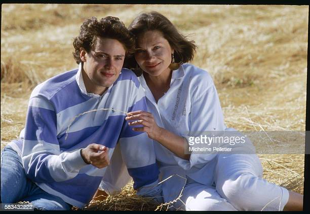 French actress Macha Meril spends time with her son Guido Baldi in the Tuscan countryside