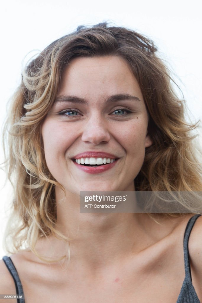 French actress Margot Luciarte poses during a photocall of the 'Talents Adami Cannes 2017' during the 10th Angouleme Francophone Film Festival in Angouleme, western France, on August 23, 2017. / AFP PHOTO / Yohan BONNET