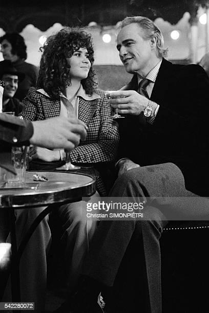 French actress Maria Schneider and American actor Marlon Brando on the set of Ultimo tango a Parigi written and directed by Italian Bernardo...