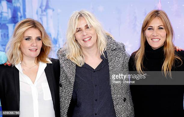 French actress Marie Amelie Seigner Emmanuelle Seigner and Mathilde Seigner attend the Christmas season launch at Disneyland Paris on November 15...