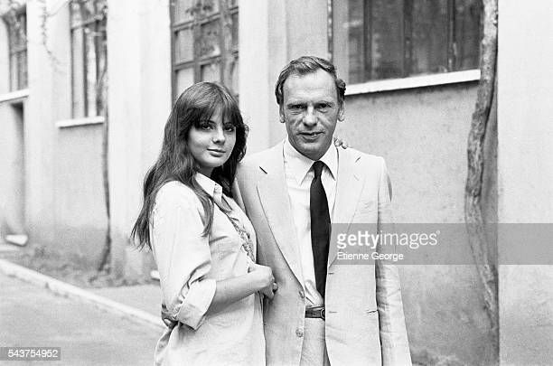 French actress Marie Trintignant with her father JeanLouis Trintignant on the set of the film La Terrazza directed by Italian director Ettore Scola