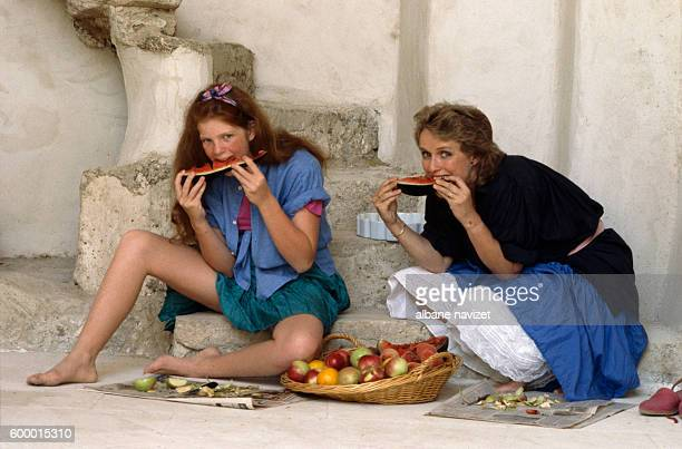 French actress MarieChristine with her daughter Ariane Toscan du Plantier