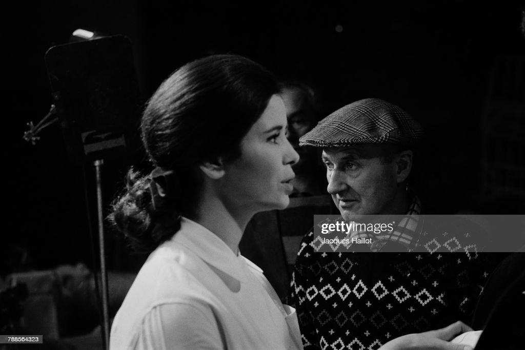 French actress Marie-JosÌÄå© Nat with director Claude Autant-Lara on the set of Journal d'une femme en blanc, based on the novel by AndrÌÄå© Soubiran.