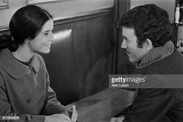 French actress MarieJose Nat and Algerian actor Mohamed Chouikh on the set of Elise ou la Vraie Vie written and directed by Michel Drach