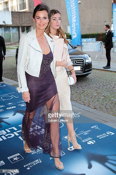 French actress MarieSophie L and her daughter attend Opening Ceremony of 10th Liege Thriller Film Festival on April 14 2016 in Liege Belgium