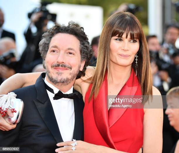 French actress Marina Hands and French actor Guillaume Gallienne arrive for the Closing Awards Ceremony of the 70th annual Cannes Film Festival in...