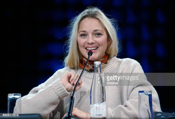 French actress Marion Cotillard attends a working session during the One Planet Summit at the Seine Musicale on December 12 2017 in...