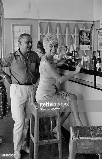 French Actress Martine Carol On The Set Of The Movie 'Nathalie Agent Secret' Directed By Henri Decoin In France Circa 1960