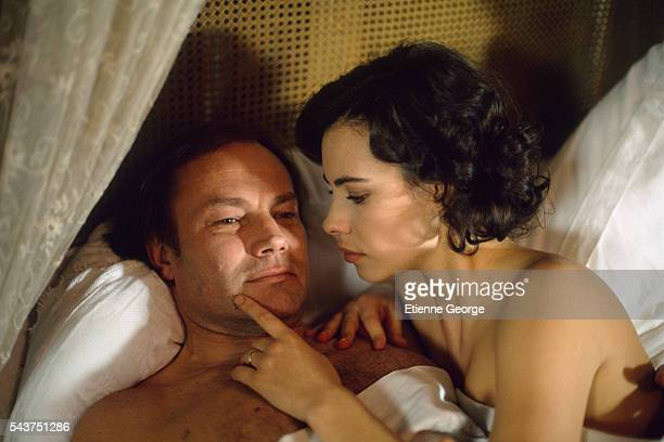 """French actress Mathilda May and Austrian actor Klaus Maria Brandauer on the set of the film """"Becoming Colette"""", directed by American director Danny..."""