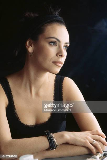 French actress Mathilda May appears on stage in the Harold Pinter play L'epreuve