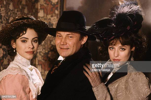 """French actress Mathilda May, Austrian actor Klaus Maria Brandauer and American actress Virginia Madsen on the set of the film """"Becoming Colette"""",..."""