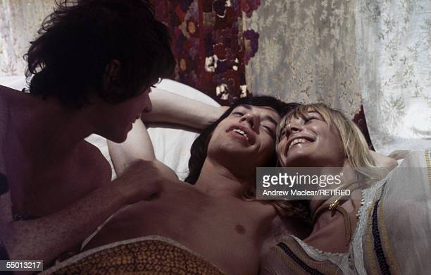 French actress Michele Breton with Mick Jagger and Anita Pallenberg on the set of Donald Cammell and Nicolas Roeg's psychological thriller...