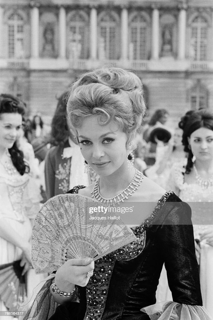 French actress Michele Mercier on the set of Angelique et le Roy (Angelique and the King), based on the novel by Anne and Serge Golon and directed by Bernard Borderie.