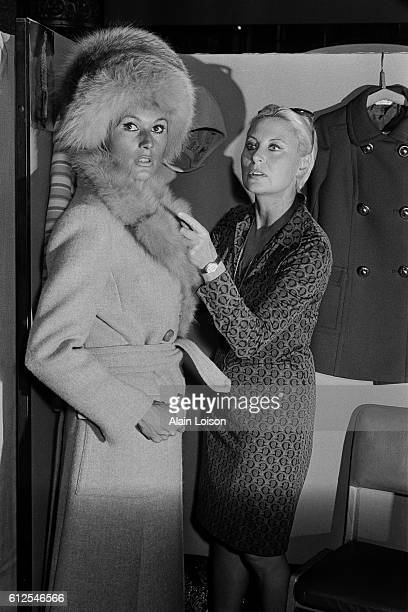 French actress Michele Morgan and her daughterinlaw model Catherine Proust wife of her son actor Mike Marshall