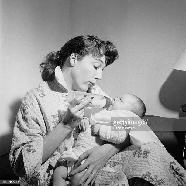French actress Micheline Presle with her baby daughter Tonie Marshall she had with American director William Marshall