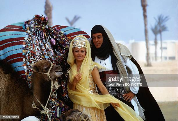 French Actress Michèle Mercier And Actor JeanClaude Pascal On The Set of The Movie 'Angélique et le Sultan' Directed by Bernard Borderie In Tunisia...