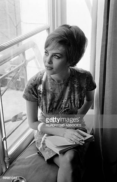 French Actress Michèle Mercier at Home in Paris France on April 16 1964