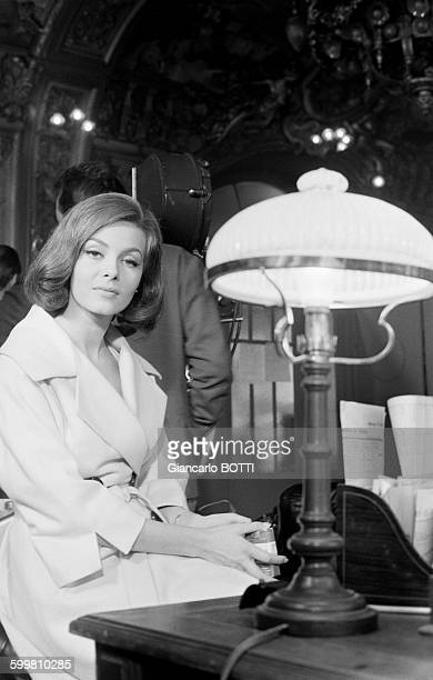 French actress Michèle Mercier on the set of the comedy film 'Casanova 70' directed by Mario Monicelli and produced by Carlo Ponti in Italy on...