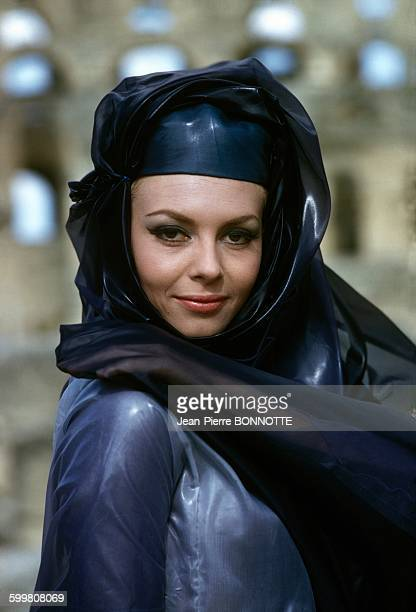 French Actress Michèle Mercier On The Set of the Movie 'Angélique et le Sultan' Directed by Bernard Borderie in Tunisia in 1967