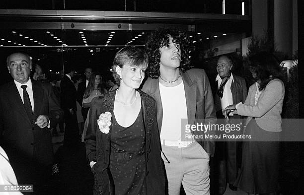 French actress MiouMiou and the French singer Julien Clerc at the premiere of the film Le Dernier Metro by the French director Francois Truffaut