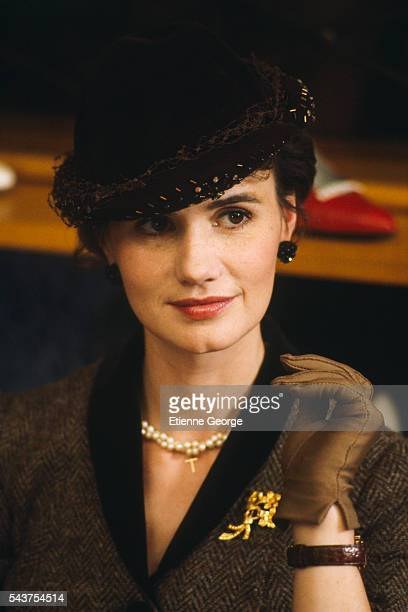 French actress MiouMiou on set of the film Coup de Foudre directed by French director Diane Kurys and based on Olivier Cohen's novel by the same title