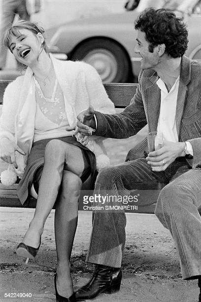 French actress MiouMiou with actor director and screenwriter Daniel Duval on the set of his movie La Derobade