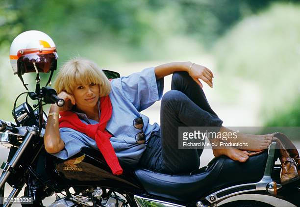 French Actress Mireille Darc on Motorcycle