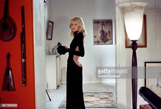 French actress Mireille Darc on the set of Le grand blond avec une chaussure noire written and directed by Yves Robert
