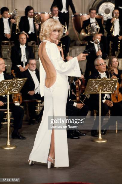 French Actress Mireille Darc on the set of Le Grand Blond avec une Chaussure Noire