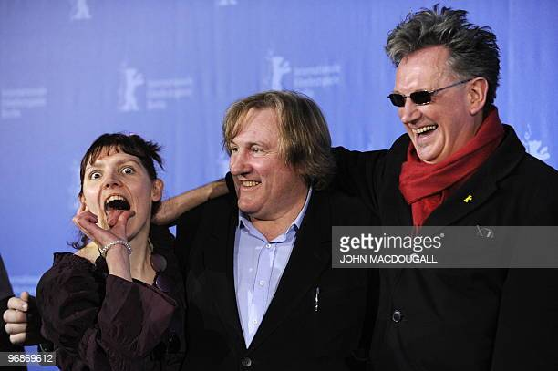 French actress Miss Ming French actor Gerard Depardieu and French director Benoit Delepine pose during the photo call for the movie 'Mammuth' during...