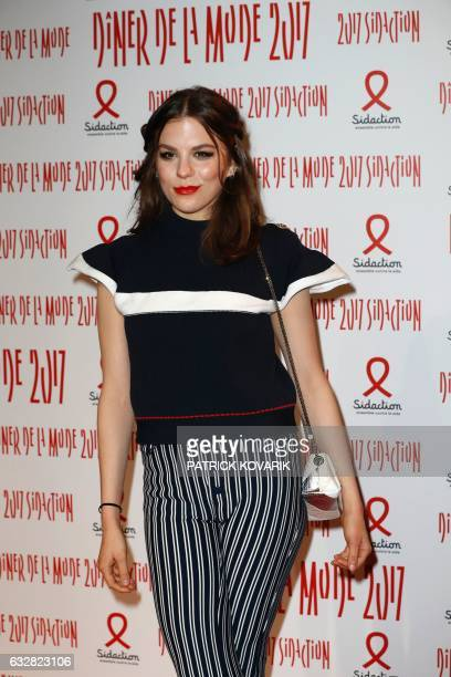 French actress Morgane Polanski poses during a photocall upon arriving to attend the Diner de la Mode fundraiser dinner in profit of French antiAIDS...