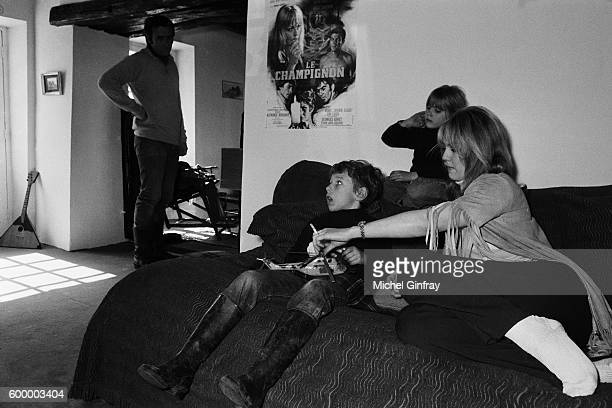 French actress Mylène Demongeot with her husband Belgian born French director and screenwriter Marc Simenon and his children Diane and Serge