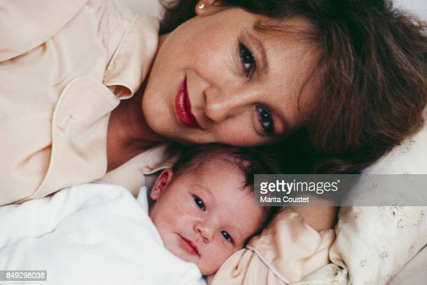 French actress Nathalie Baye and her newborn daughter Laura Smet Paris 15th November 1983