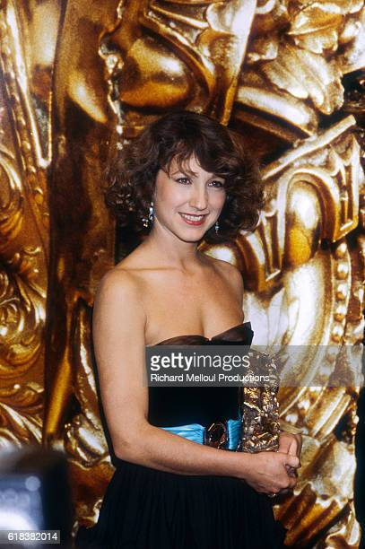 French actress Nathalie Baye holding her trophy on the seventh night of the Cesar Awards She won the award for her role in the film J'ai Epouse une...