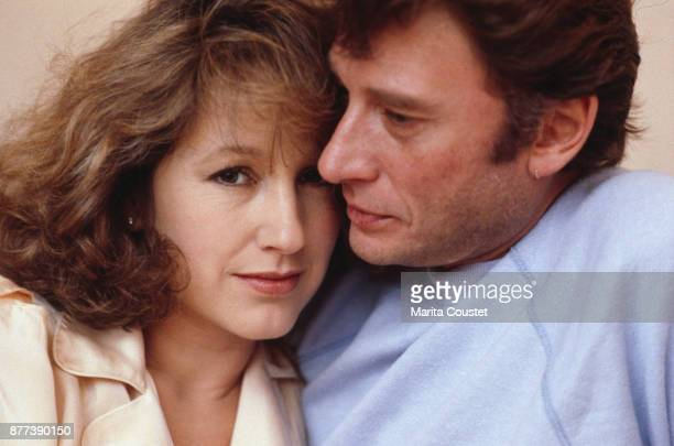 French actress Nathalie Baye with partner French singer and actor Johnny Hallyday 25th November 1983