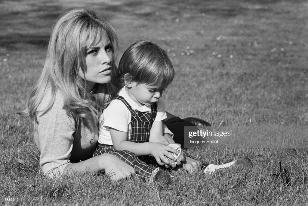 French actress Nathalie Delon and her son Anthony, whom she had with actor Alain Delon. | Location: Tancrou, France.