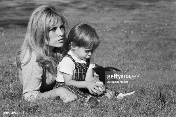 French actress Nathalie Delon and her son Anthony whom she had with actor Alain Delon | Location Tancrou France