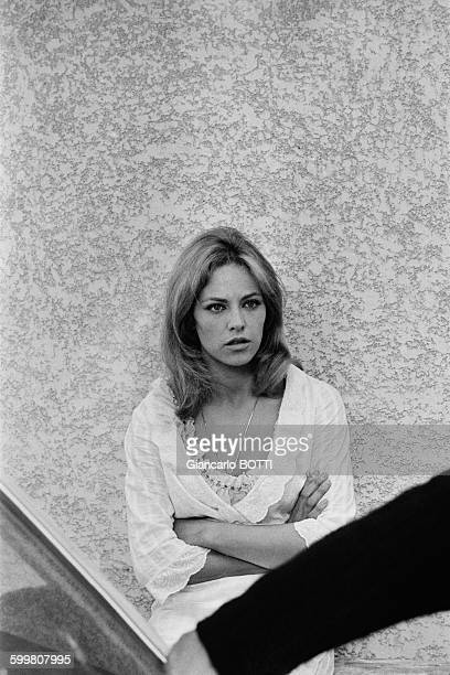 French actress Nathalie Delon on the set of the crime thriller film 'The Samourai' directed by JeanPierre Melville in France in July 1967