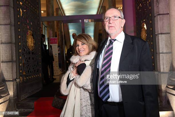 French actress Nicole Calfan and Andre Ceuterick festival executive officer attend the 32nd Mons International Love Film Festival Opening Ceremony on...