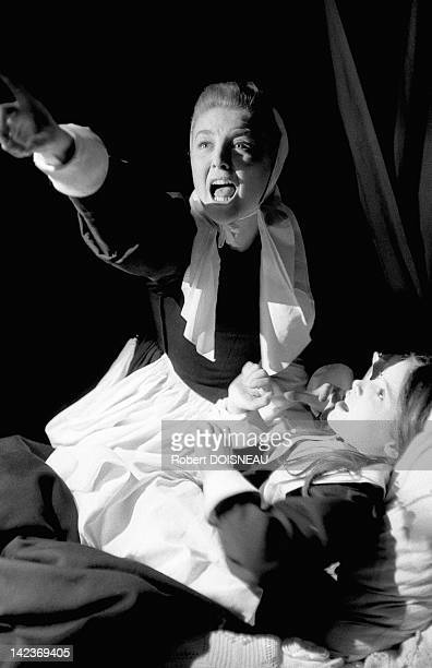 French actress Nicole Courcel playing in the 'The Crucible' a dramatization of the Salem witch trials written by the American playwright Arthur...