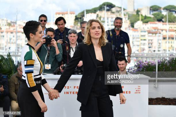 French actress Noemie Merlant and French actress Adele Haenel pose during a photocall for the film Portrait Of A Lady On Fire at the 72nd edition of...