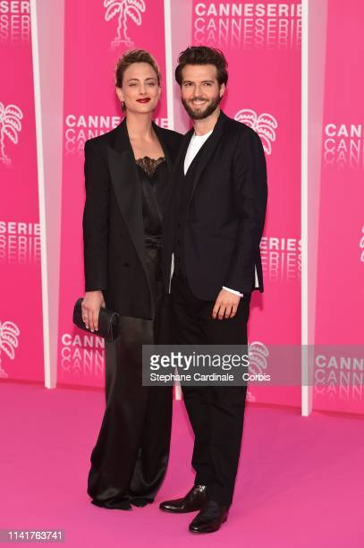 French actress Nora Arnezeder and British actor Guy Burnet pose on the pink carpet prior to the closing ceremony of the 2nd Canneseries International...