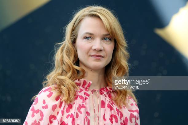 French actress Odile Vuillemin poses during a photocall as part of the 57th Monte-Carlo Television Festival on June 19, 2017 in Monaco. - The...