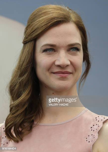 """French actress Odile Vuillemin poses during a photocall for the TV serie """"Né sous silence"""" as part of the 58th Monte-Carlo Television Festival on..."""