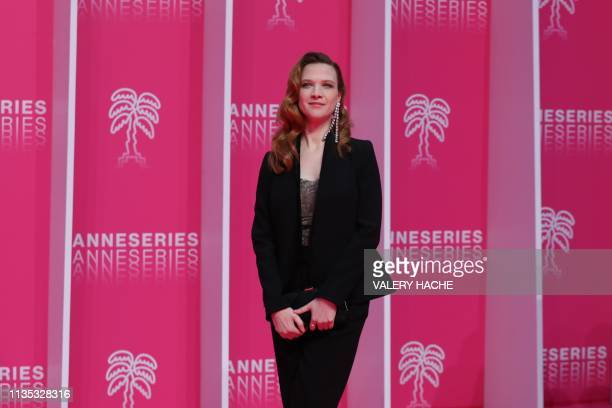 French actress Odile Vuillemin poses during the 2019 Cannes International Series festival in Cannes on April 6 2019 Canneseries aims to highlight...