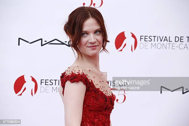 French actress Odile Vuillemin poses during the opening ceremony of the 55th MonteCarlo Television Festival on June 13 in Monaco AFP PHOTO / VALERY...